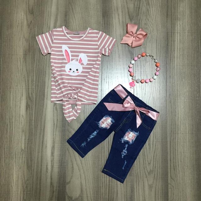 spring/summer Easter stripe bunny top milk silk  jeans capris baby girls children clothes cotton ruffles boutique set match bow