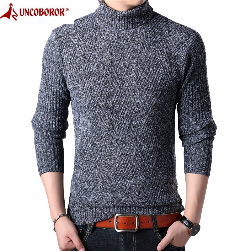 2019 Winter Thick Warm Sweater Men Casual Solid Turtleneck Cashmere Slim Fit Pullovers Sueter Masculino Male Knitted Sweaters
