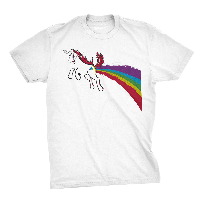 Mens Funny Unicorn T-Shirt Rainbow Fart Cool Fantasy Tee For Guys Unisex Size S-3Xl