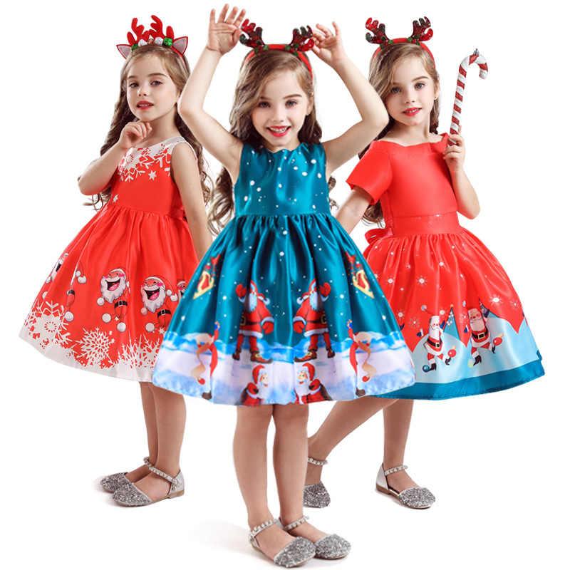 Descuento especial de Navidad para niños ropa de año nuevo regalo de Navidad estampado 3-8 años niñas vestido para niños vestidos de fiesta
