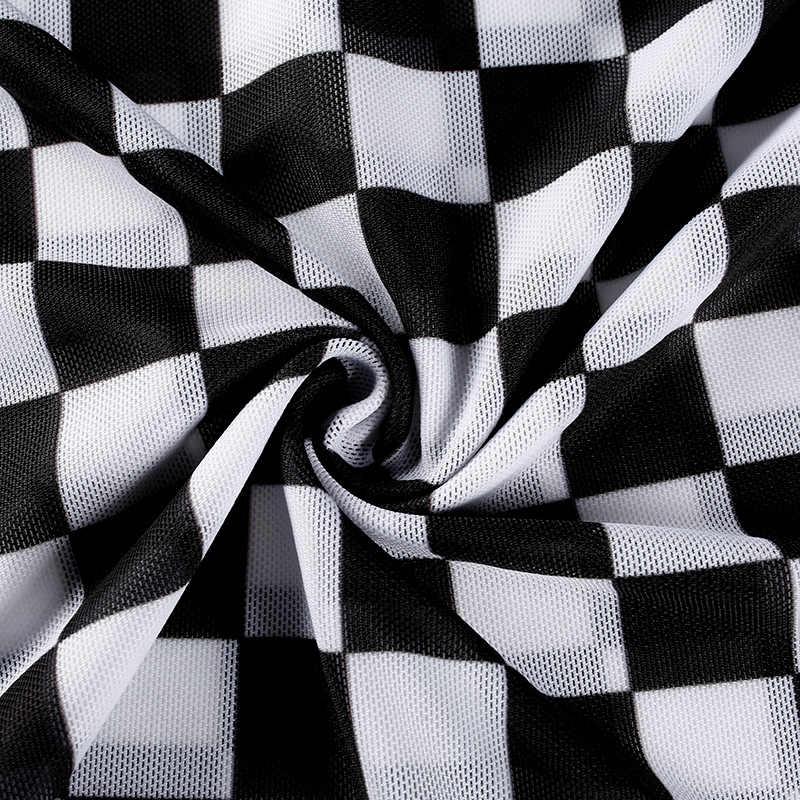 Sexy nero bianco plaid a scacchi t-shirt per le donne Scava fuori sottile superiore femminile t-shirt a manica lunga tee shirt