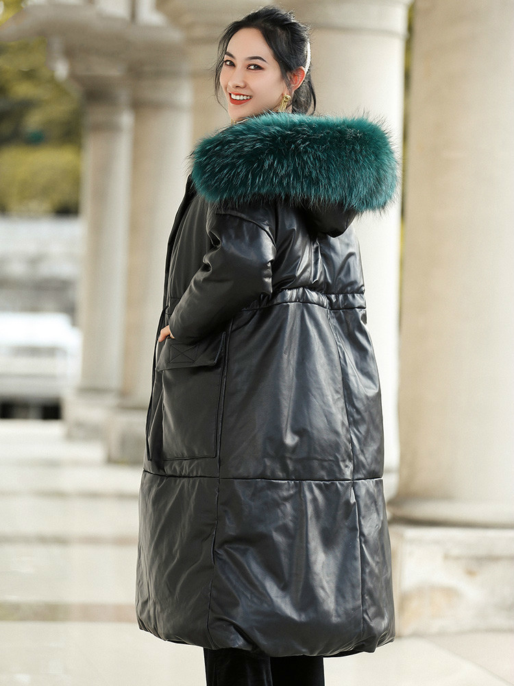 Autumn Winter Coat Women Clothes 2020 Raccoon Dog Fur Hooded Sheepskin Down Coat Korean Streetwear Real Genuine Leather Jacket