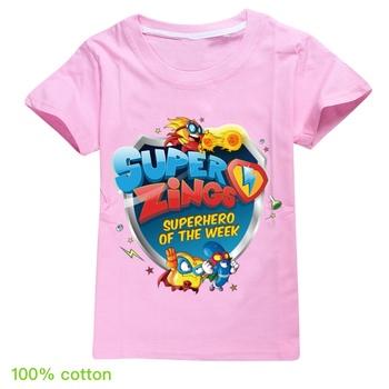 100 bawełna Super Zings dzieci T-shirt dla chłopca Superzings chłopcy T Shirt dziewczyny topy Cartoon dzieci Tshirt ubrania 1-16 lat tanie i dobre opinie BIQUINI COTTON CN (pochodzenie) Nowość REGULAR O-neck Krótki Pasuje prawda na wymiar weź swój normalny rozmiar Unisex