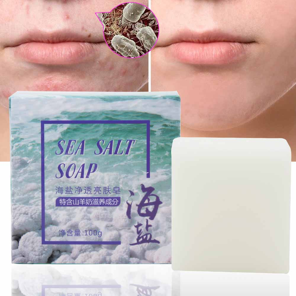 100g Sea Salt Soap Goat Milk Moisturizing Face Wash Soap Base Removal Pimple Pores Acne Handmade Face Skin Care Whitening Soap