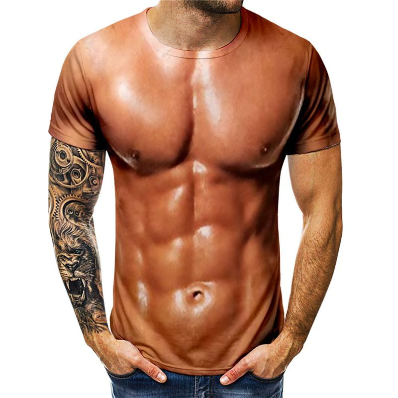 Funny 3D Muscle T Shirt Summer Fake Muscle Short Sleeve Fitness Tee Cool Tops 3D Printing Streetwear Funny Body Muscle T Shirt