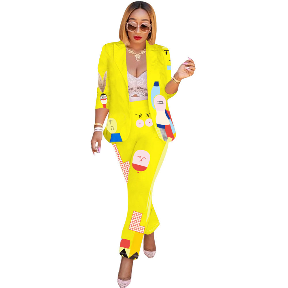 Cartoon Pant Suits For Women Cardigan Notched Collar Blazer Set Pencil Pants 2 Pieces Set Work Wear Business Suits Costume Femme