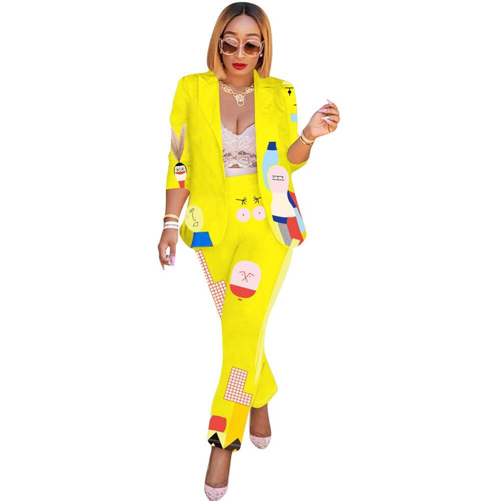 Cartoon Pant Suits For Women Cardigan Notched Collar Blazer Set Pencil Pants 2 Pieces Set Work Wear Business Suits Costume Femme