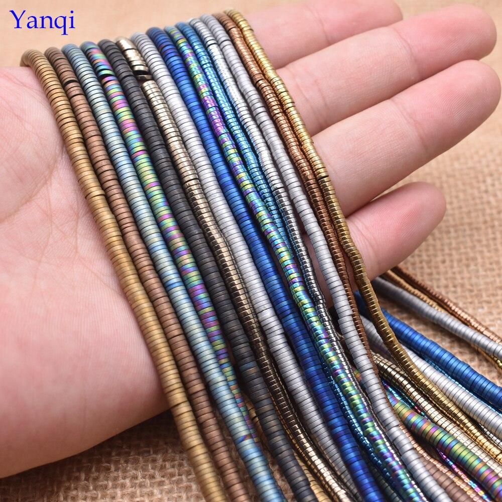 Yanqi 3/4mmNatural Stone Disc Shape Hematite Beads Flat Round Loose Beads For Jewelry Making DIY Bracelet 15
