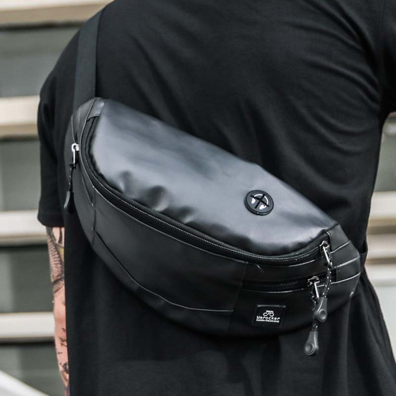New Waist Bag Men Chest Bag For Men Hip Bag Street Black Fanny Pack High Capacity Waterproof Banana Bag Shoulder Kidney Bags