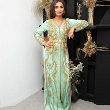 Золотистое кружевное платье с аппликацией Марокканское вечернее