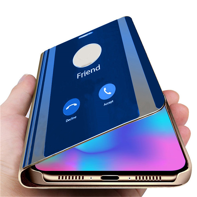 Smart Mirror Flip Phone <font><b>Case</b></font> For <font><b>Honor</b></font> 10 Lite 20 Light 8S 9X 8X <font><b>Case</b></font> Clear View Back Covers For Huawei Honer 10 9 Light Protect image