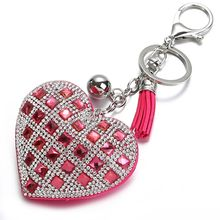 2019 new  Fashion Women Girl Key Chain Heart Female Full Glass Beads Key Ring Crystal Keychain Car Ring Gift Key Chains hot