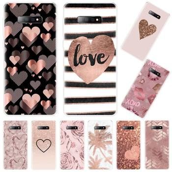 pink Gold Rose Love heart Phone Case For Samsung Galaxy S5 S6 S7 S8 S9 S10 S10e S20 edge plus lite coque shell soft shell image