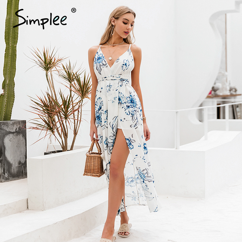 Simplee Holiday beach v neck women floral dress Spaghetti straps high waist female long dress Spring summer split ladies dresses