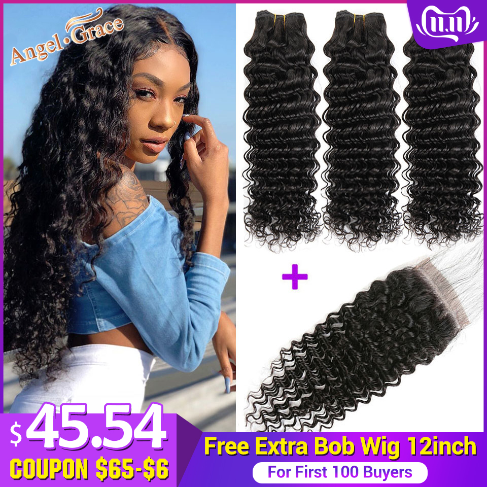 AngelGrace Hair Brazilian Deep Wave Bundles With Transparent/HD Lace Closure 3 Bundles With Closure Remy Human Hair With Closure