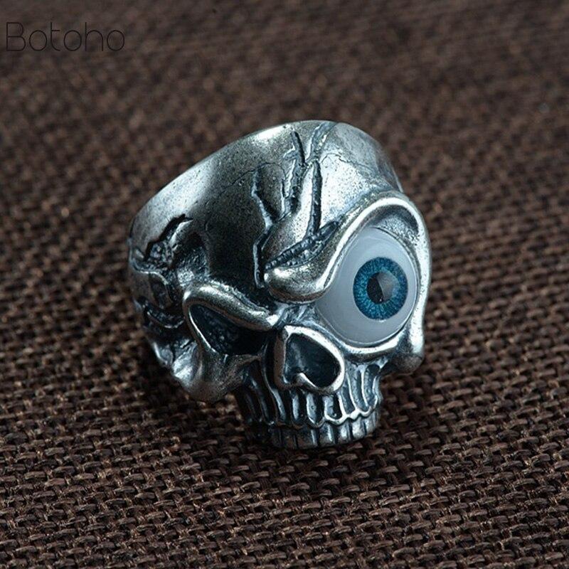 S990 argent Sterling couleur hommes anneaux réglable crâne Viking anneau pour hommes avec oeil bleu couleur argent bijoux de haute qualité