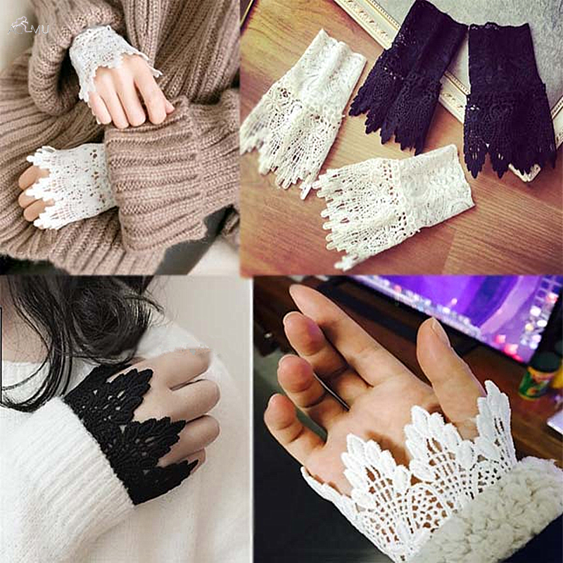 AOMU 2019 New Women Girls Fake Flare Sleeves Floral Lace Pleated Ruched False Cuffs Sweater Blouse Apparel Wrist Warmers