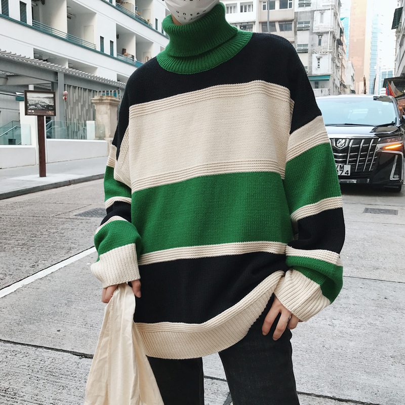 2019 New Autumn Winter Mens Turtleneck Sweater Casual Fashion Men Loose Long Sleeve Sweats Brand Knitted Pullovers Sweaters Male in Cardigans from Men 39 s Clothing