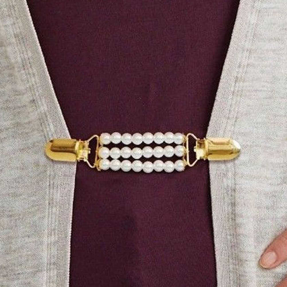 אופנה נשים חיקוי פרל קרדיגן צווארון קליפ מחזיק שמלת צעיף אבזם סיכת סוודר צעיף צווארון קליפ אישה פילטרים של חדש