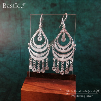 Bohemian 999 Sterling Silver Earrings Tassel Dangle Women Accessories Vintage Boho Earrings Handmade Luxury Jewelry Gypsy