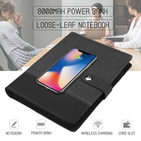 Business Note Book Multi Functional A5 Power Book 8000 MAh Power Bank Qi Wireless Charging Note Book Binder Spiral Diary Planner