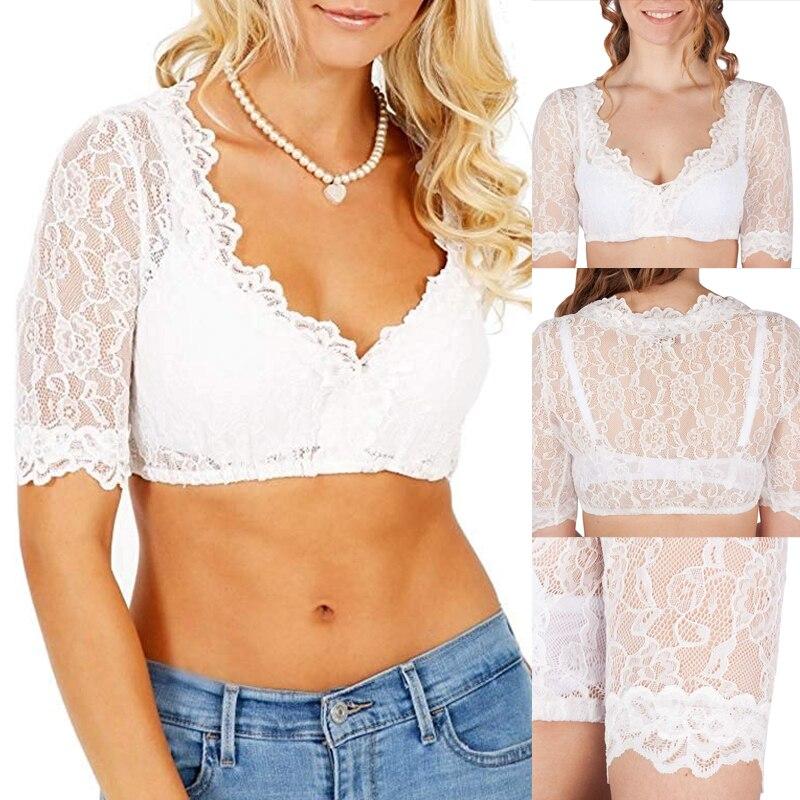 עלה תחרה קצר חולצות נשים V צוואר מוצק חשוף Bare-בטן קצר SleeveTransparent אוקטוברפסט גרמנית שמלה כפרית חולצה לעטוף יבול למעלה