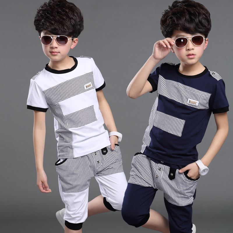 2020 Summer Children's Wear Boy's Short-Sleeve Clothing Set Kid Fashion Splicing Sport Suit T-shirt + Pants 2 Pcs Tracksuit X305