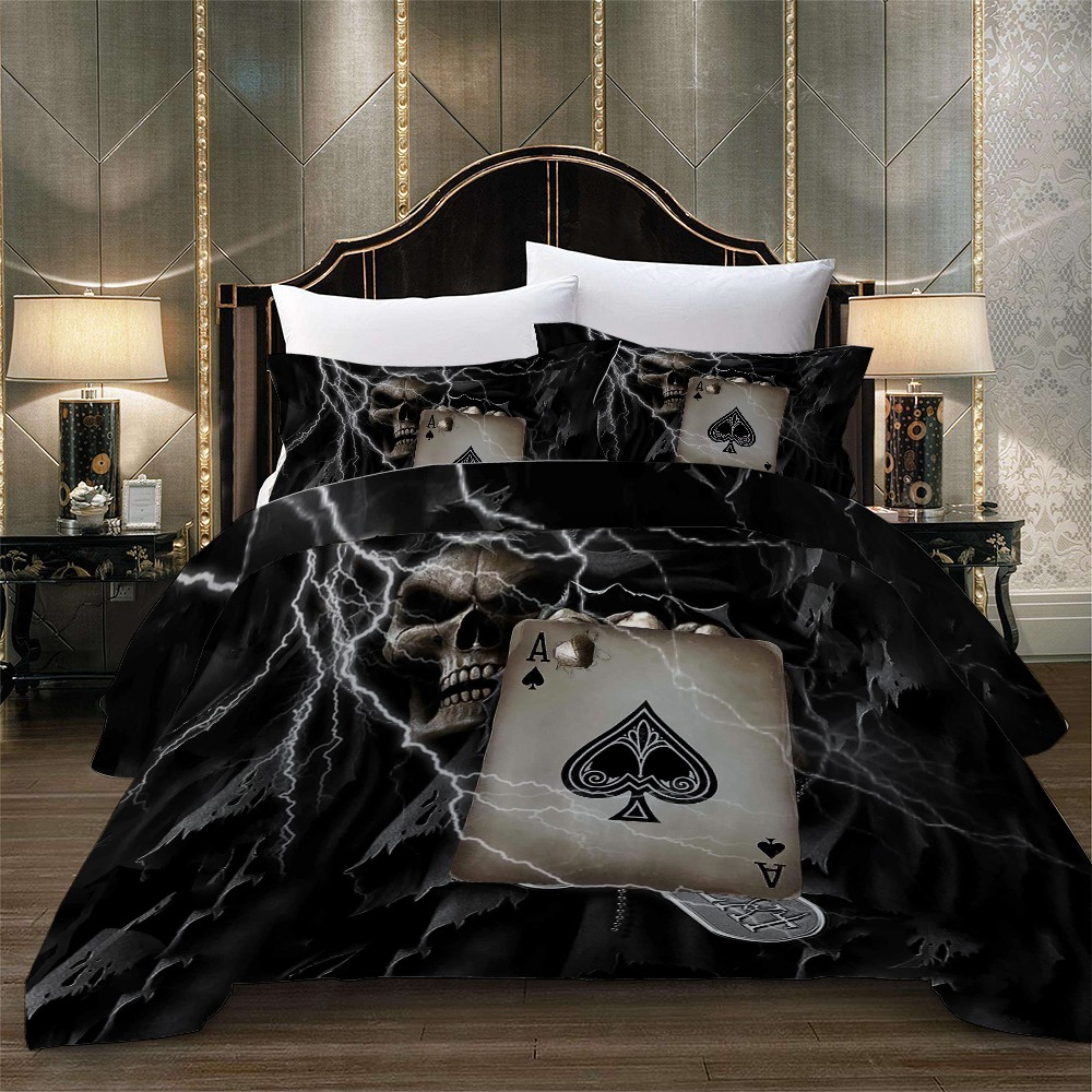 2/3PCS Poker A Print Black Bedding Set Dormitory Bedroom Comforter Set Queen King Single Double Home Bed Linen Set Pillowcase