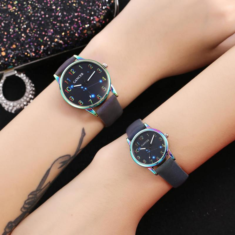 New Lovers Constellation Sky Watches Men Women Casual Leather Strap Quartz  Unisex Watch  Women's Dress Couple Watch Clock Gifts