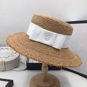 Image 4 - Fashion bonnet temperament Raffia visor beach vacation straw hat M standard ladies elegant bow flat cap sun hat