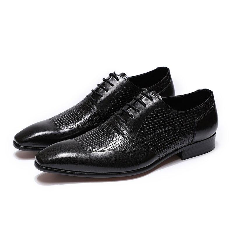 فيليكس تشو الفاخرة الايطالية جلد أصلي للرجال الأزرق الأسود الزفاف أكسفورد الأحذية الدانتيل متابعة مكتب بدلة عمل الرجال اللباس الأحذية-في أحذية رسمية من أحذية على  مجموعة 3