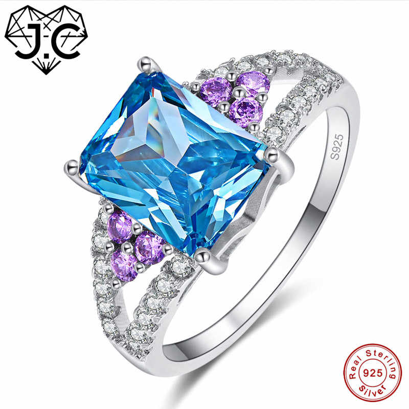 J.C Mystic Rainbow & Blue Topaz แท้ 925 แหวนเงินขนาด 6 7 8 9 ผู้หญิงประณีตเครื่องประดับของขวัญ