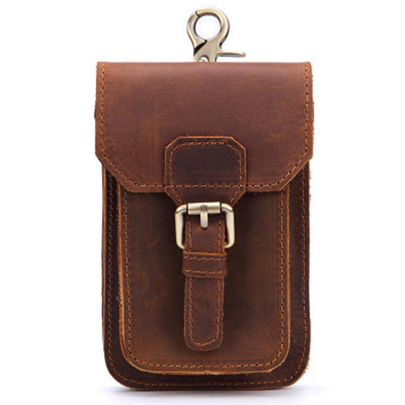 BEAU-Genuine Leather Vintage Waist Packs Men Travel Fanny Pack Belt Loops Hip Bum Bag Waist Bag Mobile Phone Pouch