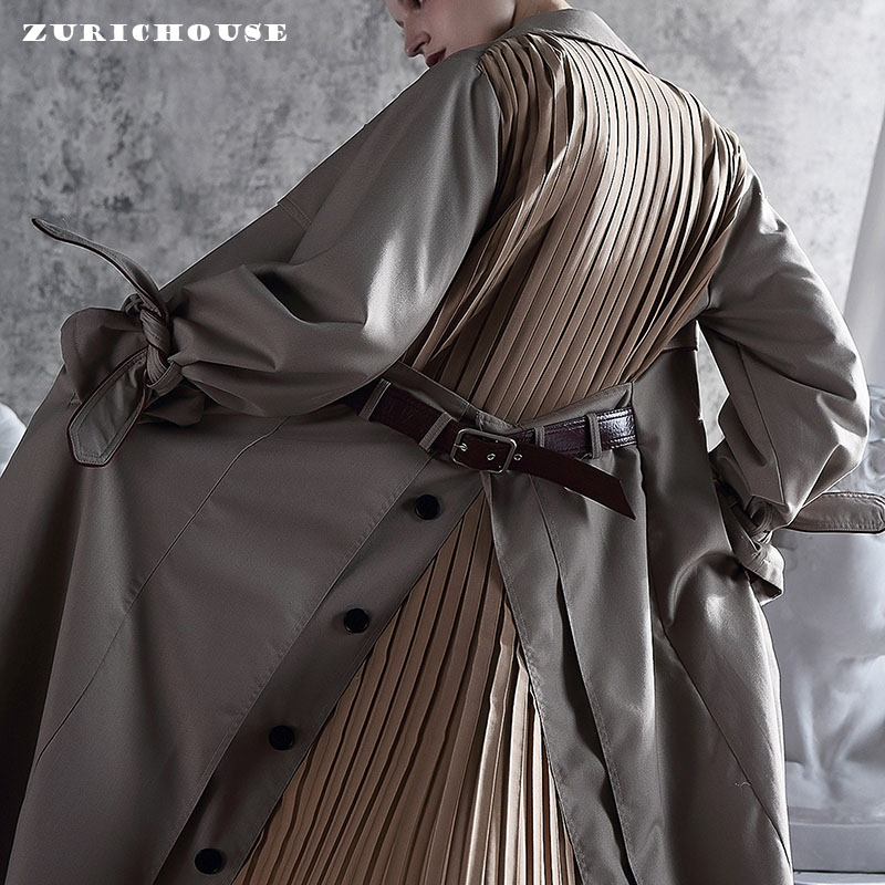 ZURICHOUSE Patchwork Women's Windbreaker Long Fashion Notched Personality Folds Design Sahes Spring Trench Coat Female