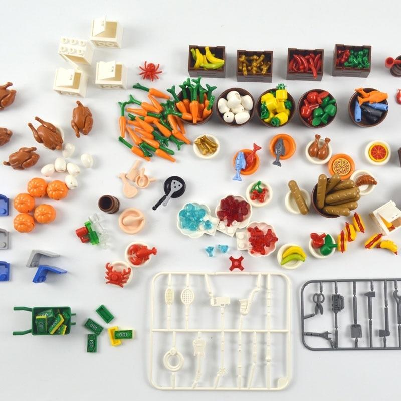 100pcs DIY Building Blocks Fish Fruit Chicken Hot Dog Coins Toy MOC Parts City Accessories Compatible LegoINGlys Food