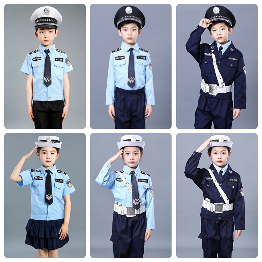 Children Traffic Policemen Uniform Party Carnival Cosplay Costumes Boys Girls Disguise Police Suit Halloween Special Force