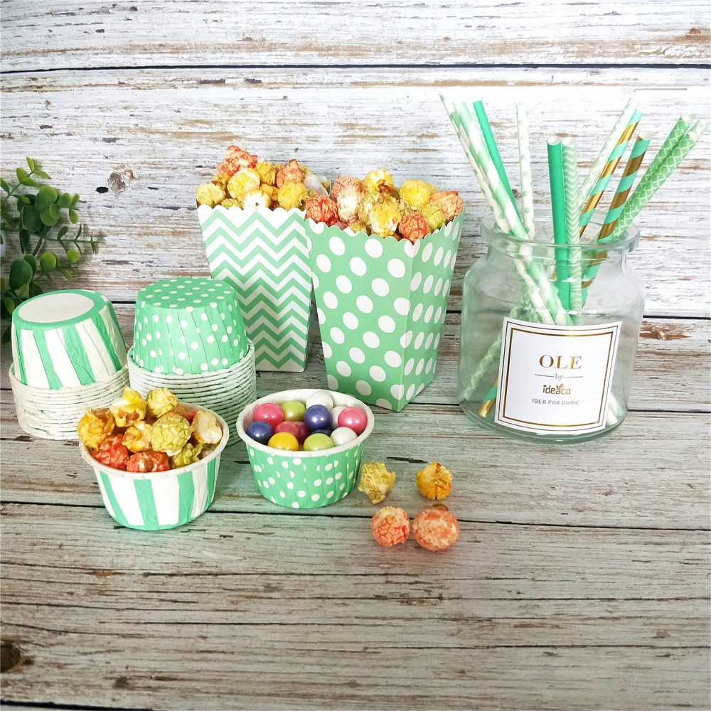 mint party paper box cup straws1