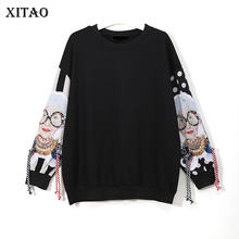 XITAO – sweat-shirt à manches longues pour femmes, noir, Patchwork, imprimé, pompon, sweat à capuche, Harajuku, vêtements, nouvelle collection, XWW2734
