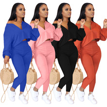 Two Pieces Women Sets 2020 Autumn Winter Tracksuits V-Neck Long Sleeve