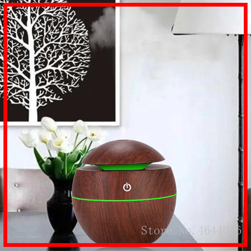 Top Quality 130ml Wood Grain Electric Air Humidifier Ultrasonic Essential Oil Diffuser Aroma Treatment 7 Color LED Night Light