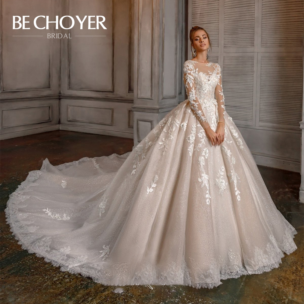 Luxury Appliques Lace Ball Gown Wedding Dress BECHOYER N121 Long Sleeve Button Chapel Train Princess Bride Gown Vestido De Noiva