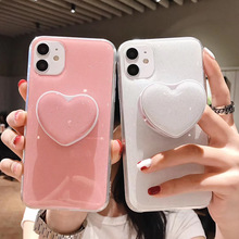 Gimfun Candy Love Heart Phone Case for iPhone 12 11 Pro 7 8plus Xsmax Xr Cute Glitter Holder Stand Shockproof Silicon Back Cover
