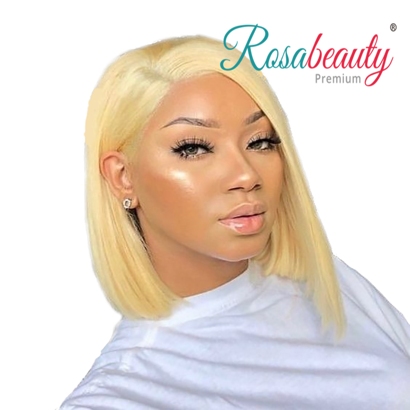 Rosabeauty 13x6 613 Blonde Short Bob Lace Front Human Hair Wigs Brazilian Straight 613 Frontal wig For Black Women Hd Full image