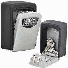 Caja de bloqueo de almacenamiento de llave de combinación de 4 dígitos caja de bloqueo de llave de exterior de interior caja de seguridad de aleación de aluminio montada en la pared caja de seguridad resistente a la intemperie
