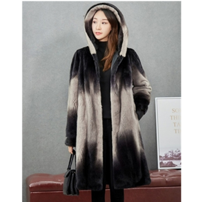 Jacket Mink-Coat Hooded Fur Vintage Women Authent Female Plus-Size Winter New Warm And title=