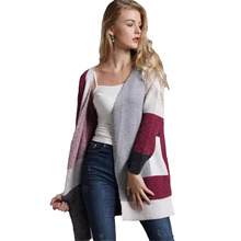 New Women's Knit Cardigan Plaid Contrast Color Stitching Long Sleeve Loose Long Sweater Autumn And Winter Women's Sweater Coat womens new designer 2pcs tracksuits plaid stitching contrast set crew collar long sleeve fashion female clothing