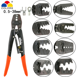 Image 1 - Crimping tools pliers for non insulated terminals Japanese style Self locking capacity 0.5mm2 38mm2 electrical hand tools