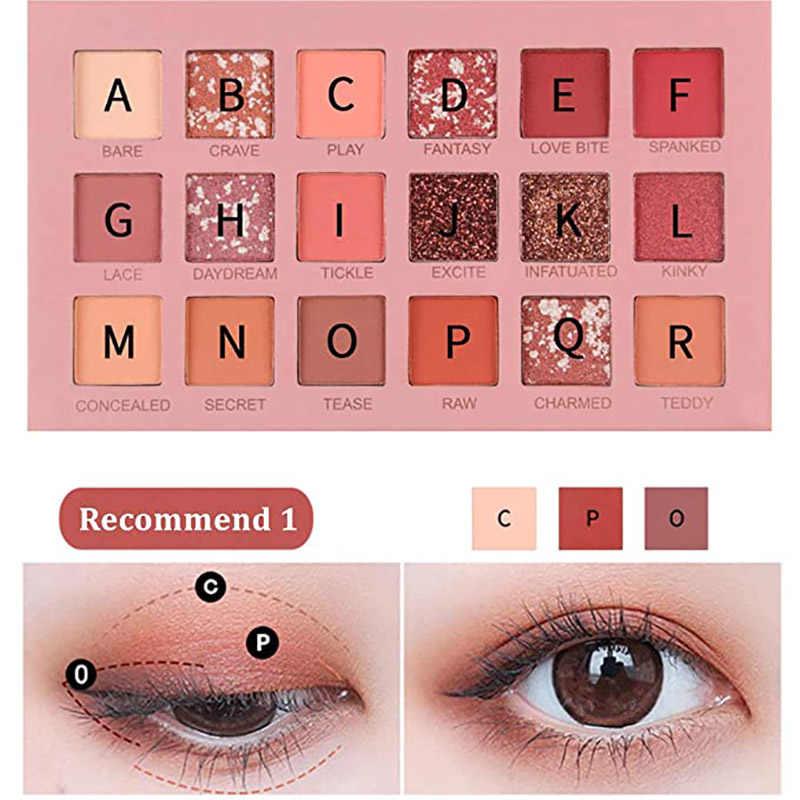 18 สีอายแชโดว์กันน้ำยาวนานMatte Eye Brightening Glitter Paletteแต่งหน้าProfessionalชุดShiningอายแชโดว์เครื่องสำอาง