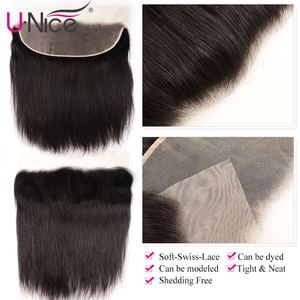 Image 5 - Unice Hair 13*6 Transparent Lace Frontal 8 18 Inch straight Human Hair Pre Plucked Brazilian Remy Hair Natural Color