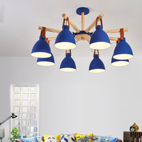 Wooden pendant lamp For Living Room white sapphire blue iron shade applies to the living room bedroom dining room lamp